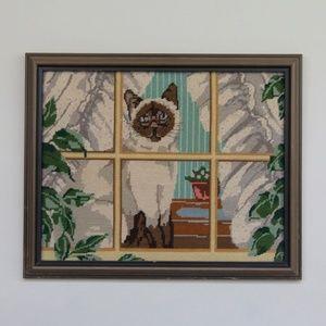 VTG Siamese Cat Needlepoint Crewel Embroidery Art